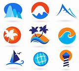 Vacation, travel and holiday summer icons - red, orange, blue