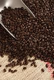 Coffee beans, scoop and sack