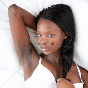 Attractive woman in underwear relaxing