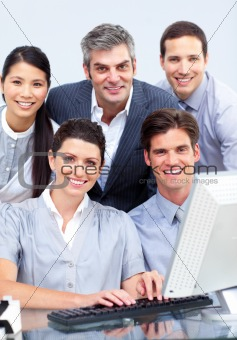 Smiling business group showing diversity