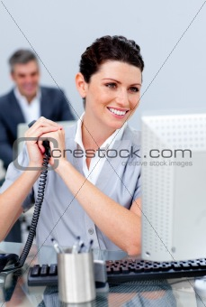 Charming business woman on phone