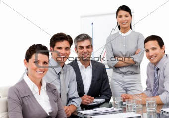 Portrait of multi-ethnic business team during a presentation