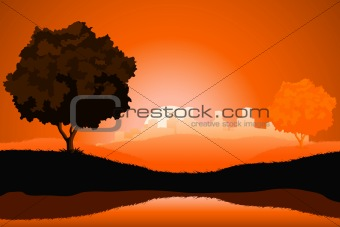 Amazing natural sunrise landscape with tree silhouette and citys
