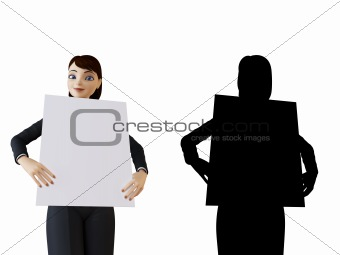 Businesswoman and white panel