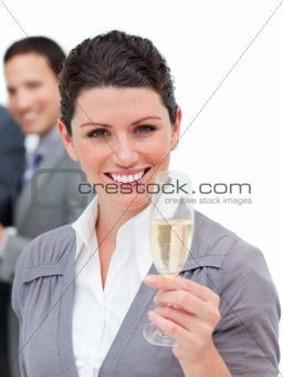 Business woman Holding a Champagne Glass