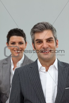 Business associates standing in a line
