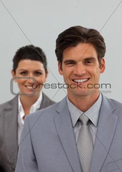 Caucasian business associates in a row