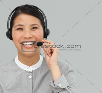 Asian customer service agent with headset on