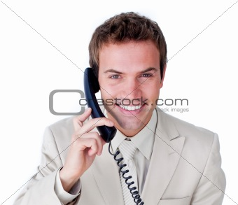 Close-up of a caucasian businessman talking on phone