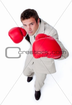 Charismatic businessman beating the competition