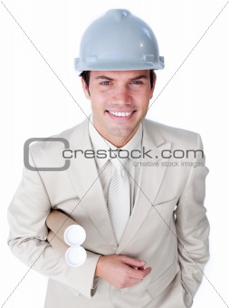 Assertive male architect wearing a hardhat
