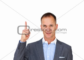 Charming businessman pointing upwards