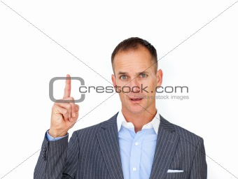 Businessman pointing upward