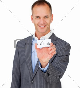 Charming businessman showing a white card