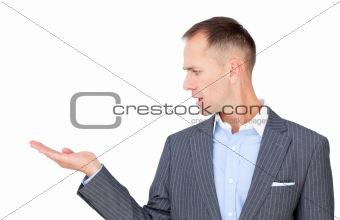Caucasian businessman presenting