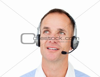 Attractive Customer service agent talking on headset