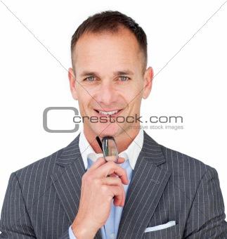 Caucasian businessman holding glasses