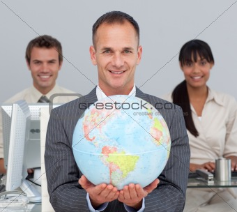 Attractive manager showing South America