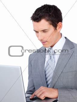 Caucasian businessman using a laptop