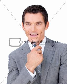 Positive businessman holding glasses