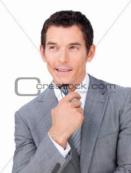 Charming caucasian businessman holding glasses