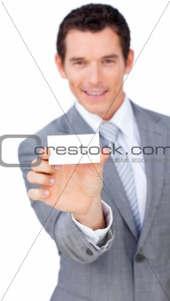 Charismatic businessman showing a white card