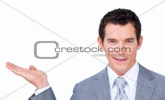 Charismatic businessman presenting