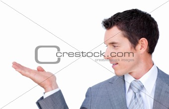 A businessman presenting