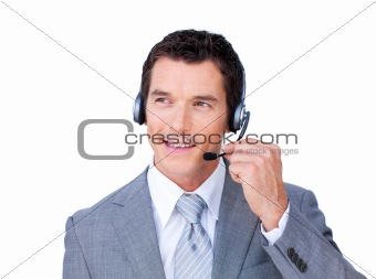 Charming caucasian businessman using headset