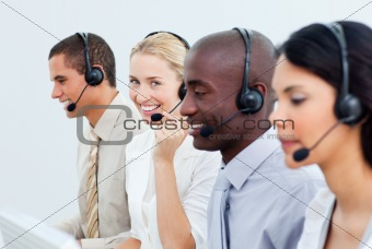 A diverse business people working in a call center