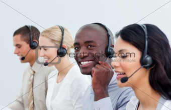 Business partners in a call center