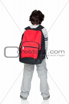 Anonymous child back with a heavy pack