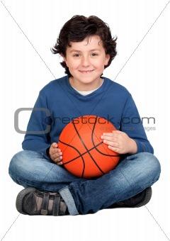Beautiful child with basket ball