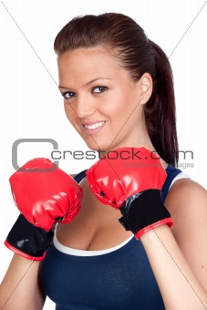 Attractive girl practicing boxing