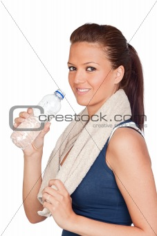 Gymnastics girl with a towel and water