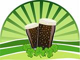 St. Patrick&#39;s Day - Stout beers with shamrocks
