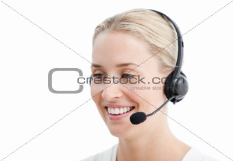 Positive businesswoman with headset on