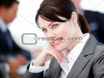Assertive businesswoman in a meeting