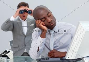 Asleep businessman annoyed by a man looking through binoculars