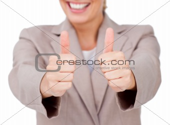 Fortunate businesswoman with thumbs up