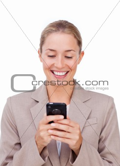 Attractive woman using her phone for texting
