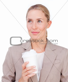 Attractive businesswoman drinking a coffee