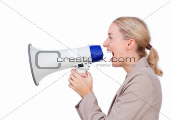 Attractive businesswoman holding a megaphone