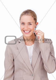 Assertive customer service representative using headset