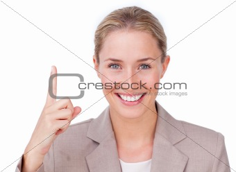 Attractive businesswoman pointing
