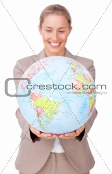 Charismatic businesswoman smiling at global business expansion