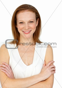 Assertive businesswoman with folded arms