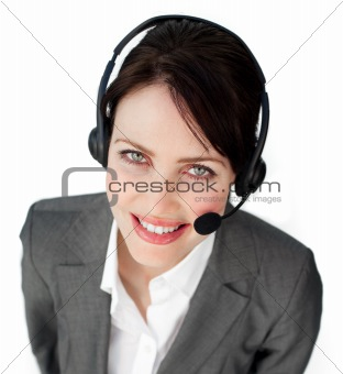 A woman working in a call centre