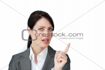 Charming businesswoman pointing