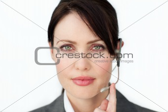 Charismatic businesswoman using headset